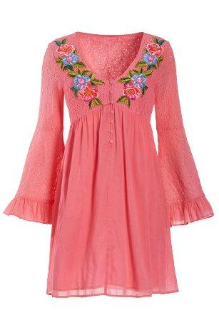 pink lace long-sleeve dress with floral embroidery.