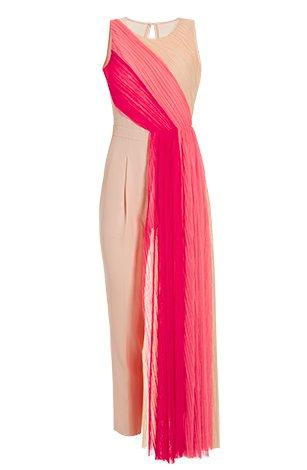 pink ombre chiffon overlay jumpsuit.