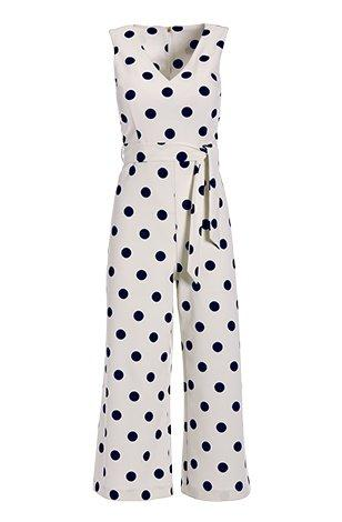 navy and white tie-waist crop jumpsuit.