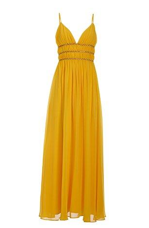 yellow occasion maxi dress with gold embellishments.