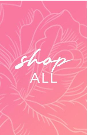 white text on a pink background: shop all.