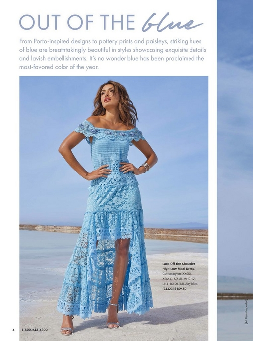 model wearing a light blue lace off-the-shoulder high-low maxi dress.
