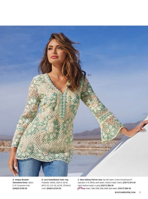 model wearing a lace embellished tunic top and pull-on skinny jeans.