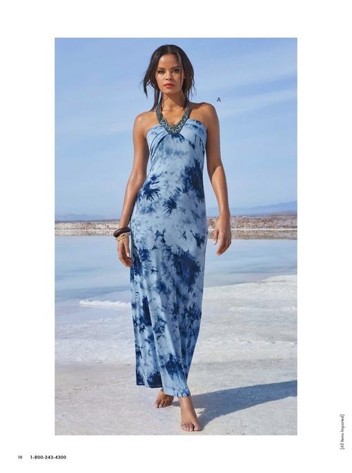 model wearing a beaded neckline blue tie-dye maxi dress.