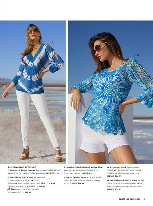 right model wearing a blue and white tie-dye slit sleeve sweater, white skinny jeans, sunglasses, and white jeweled embellished cork wedges. right model wearing a blue crochet sweater, white camisole, white shorts, and sunglasses.