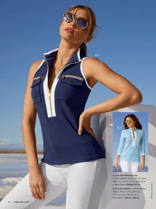 left model wearing a blue sleeveless chic-zip collared top, sunglasses, and white pants. right model wearing a light blue long-sleeve chic-zip top, sunglasses,and white pants.