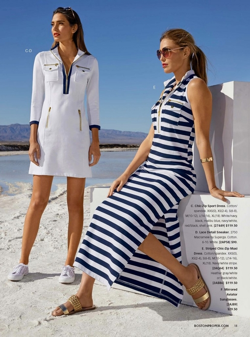 left model wearing a chic-zip sport dress in white with lace white sneakers. right model wearing a navy and white striped chic-zip maxi dress and gold sandals.