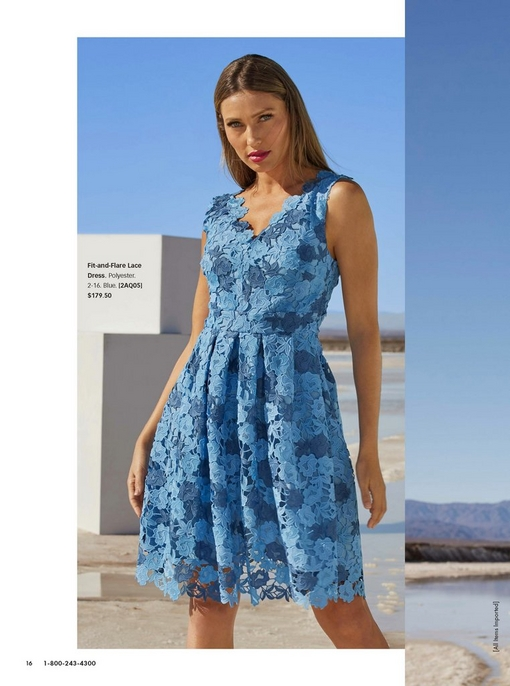 model wearing a blue floral lace fit and flare dress