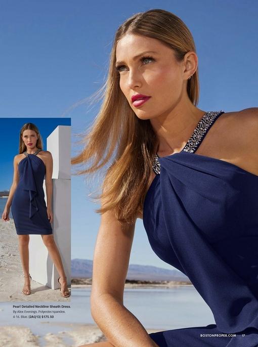 model wearing a blue pearl detailed neckline sheath dress.