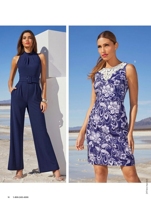 left model wearing a navy belted mock-neck jumpsuit with silver heels. right model wearing a blue and white floral embellished sheath dress.