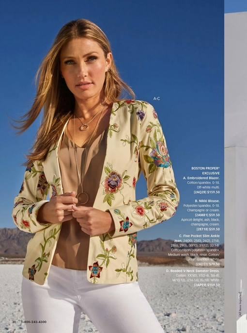 model wearing a floral embroidered off-white blazer, light brown v-neck tank top, layered gold necklace, and white jeans.