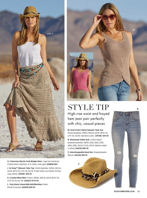 left model wearing a white blouson tube top, tan crochet maxi skirt, gold sandals, a turquoise layered belt, and a straw hat. right model wearing a tan knot front v-neck sweater tank top, crochet hem capri jeans, sunglasses, and crisscross wedges in tan.
