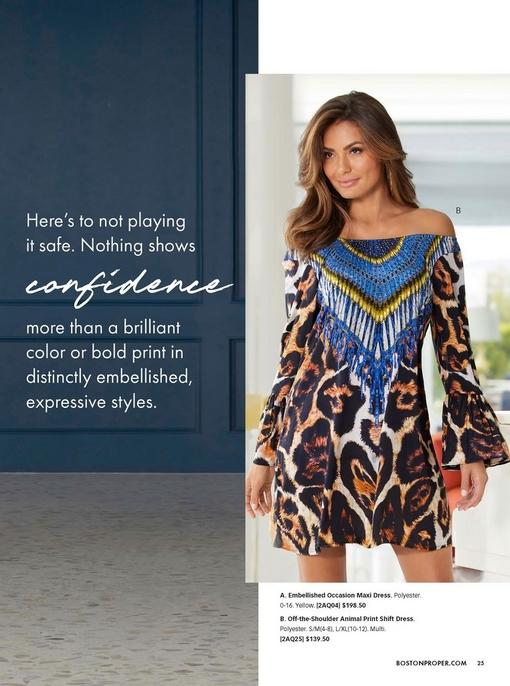 model wearing an off-the-shoulder animal print flare-sleeve shift dress.