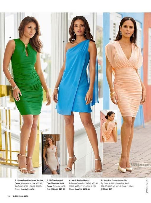 left model wearing a sleeveless green ruched dress and gold heels. middle model wearing a blue chiffon draped on-shoulder shift dress and silver heels. right model wearing a light pink mesh ruched dress and nude pumps.