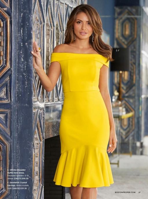 model wearing a yellow off-the-shoulder ruffle-hem dress and geometric earrings.