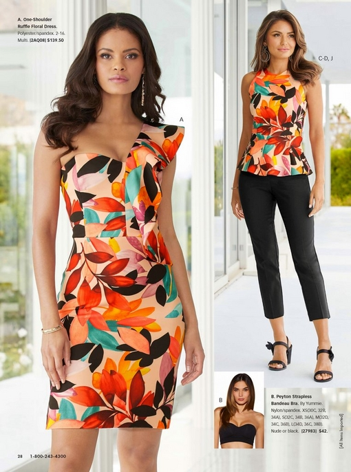 left model wearing a one-shoulder ruffle floral print dress. right model wearing a floral-print peplum scuba tank top, black cotton sateen crop pant, and black floral block heels.