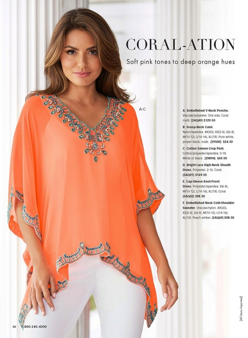 model wearing a coral embellished v-neck poncho over a white camisole and white jeans.