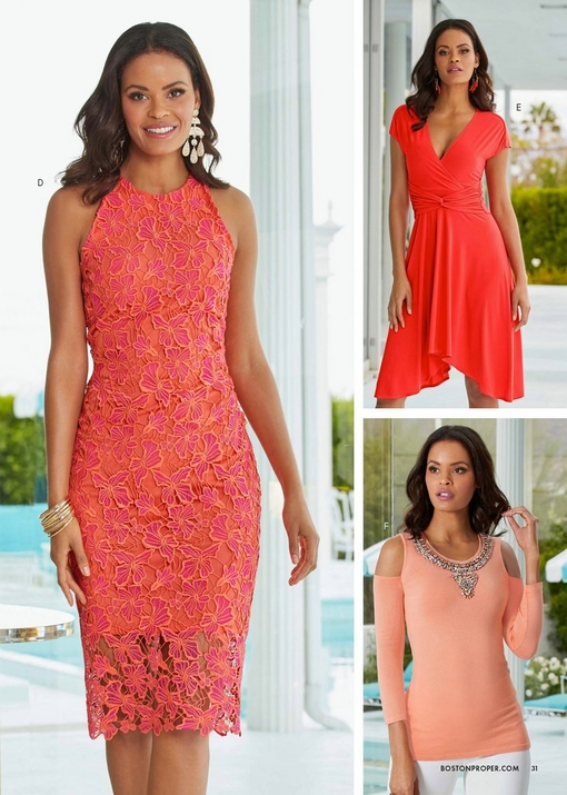 left model wearing a coral lace sleeveless high-neck sheath dress. top right model wearing a coral cap-sleeve knot-front dress. bottom right model wearing an embellished neck cold-shoulder sweater in peach and white pants.