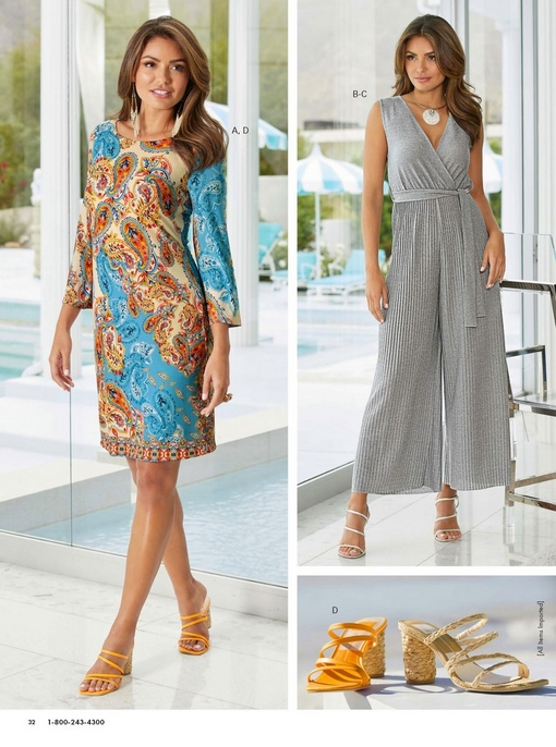 left model wearing a paisley border shift dress with orange mule heels. right model wearing a silver metallic pleated jumpsuit, opal crystal choker necklace, and strappy silver heels. bottom right image is of the mule heel shoes in orange and tan.