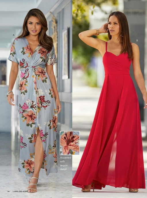 left model wearing a blue sequin knot floral maxi dress and silver heels. right model wearing a red chiffon overlay wide-leg statement jumpsuit.