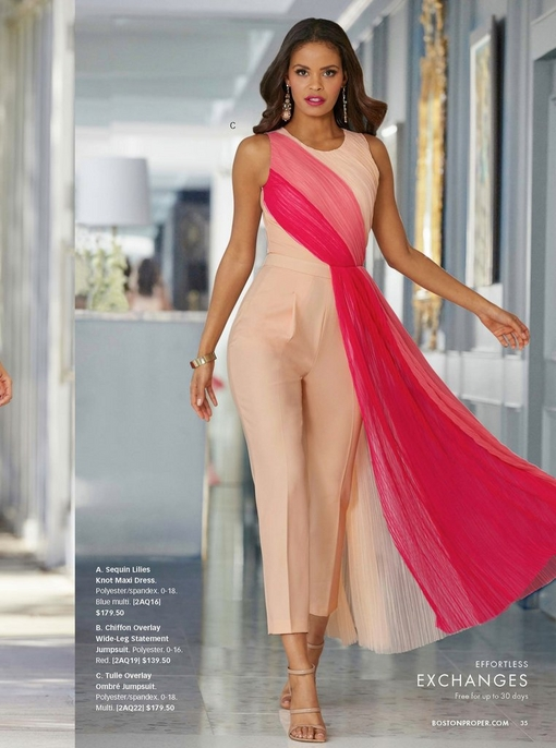 model wearing a tulle overlay pink ombre jumpsuit and nude strappy heels.