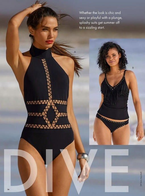 left model wearing a black high-neck laser-cut one-piece swimsuit. right model wearing a studded fringe black two-piece tankini swimsuit.