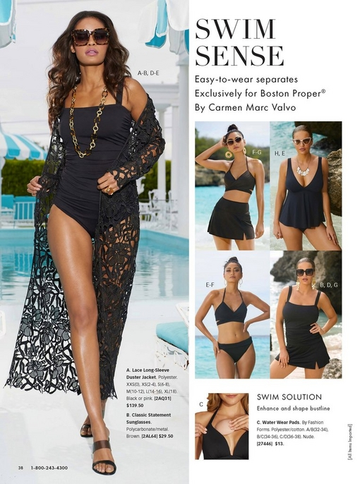 left model wearing a black square-neck tankini top and black bikini bottoms, a black lace duster, statement sunglasses, a chain necklace, and black wedges.