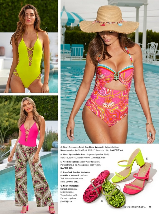 top left model wearing a neon yellow crisscross-front one-piece swimsuit. bottom left model wearing a neon pink crisscross-front one-piece swimsuit, neon python-print pant, and neon pink block heel. right model wearing a multicolored keyhole one-piece swimsuit and a straw hat with multicolored tassels. bottom right shows the neon block heel in yellow and pink and pythonprint neon sandals in yellow and pink.