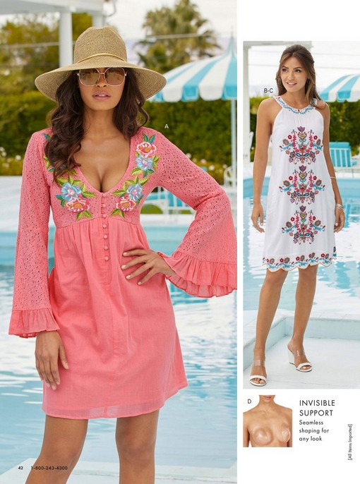 left model wearing a pink flare-sleeve lace inset floral embroidered dress, sunglasses, and straw hat. right model wearing a white halter dress with floral embroidery and white wedges.