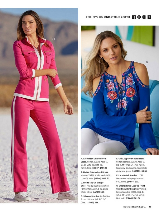left model wearing a pink and white chic zip coordinates and lace white sneakers. right model wearing a blue floral embroidered lace-up front cold-shoulder long-sleeve top and white jeans.