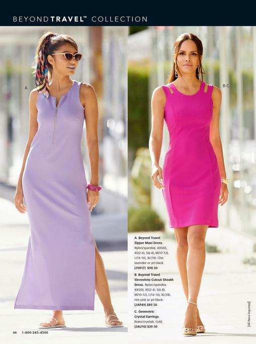 left model wearing a lavender zipper maxi dress, sunglasses, white strappy sandals, and a scarf in her hair. right model wearing a hot pink sleeveless cutout sheath dress, geometric crystal earrings, and gold heels.