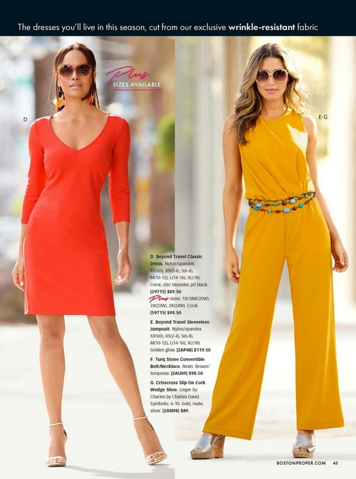 left model wearing a coral three-quarter sleeve knee-length dress, gold heels, and multicolored feathered earrings. right model wearing a yellow sleeveless jumpsuit, layered turquoise belt, sunglasses, and silver crisscross cork wedges.