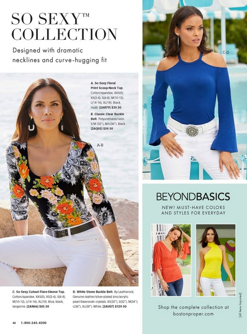 left model wearing a floral print scoop neck three-quarter sleeve top, black belt, and white jeans. right model wearing a blue flare sleeve cutout top, a white stone buckle belt, and white jeans.
