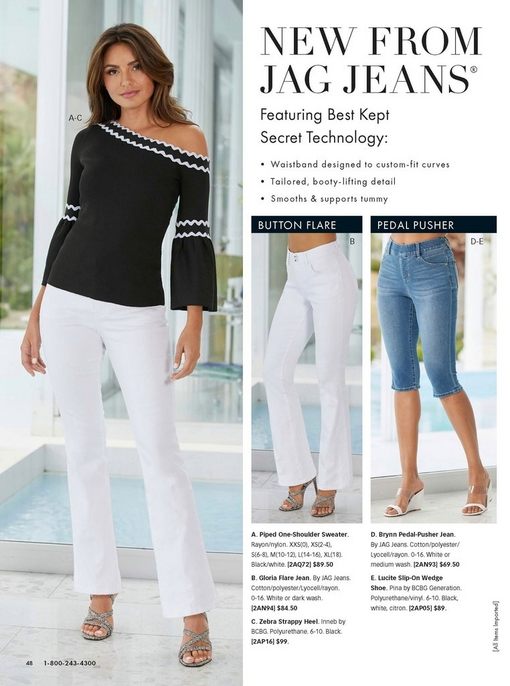 model wearing a black and white piped one-shoulder sweater, white flare jeans, and zebra print strappy heels. the right shows the two different jag jeans: the flare and the pedal-pusher.