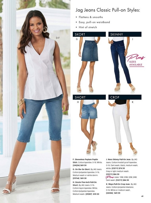 left model wearing a white sleeveless poplin shirt, white wedges, jeans fropped to the knee, and gold hoop earrings. the right shows different jag jeans styles including the skort, the skinny jean, the short, and the crop.