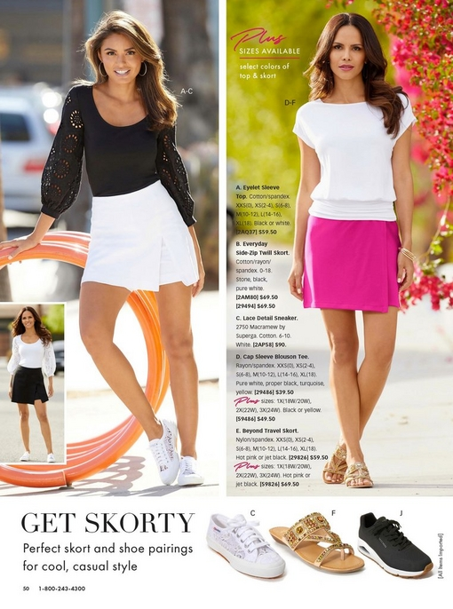 left model wearing a black eyelet sleeve top, white twill skort, and white lace sneakers. right model wearing a white cap sleeve blouson tee, a pink skort, and gold embellished sandals.