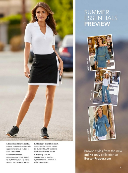 model wearing a white ribbed collared shirt, black and white skort, and black sneakers.