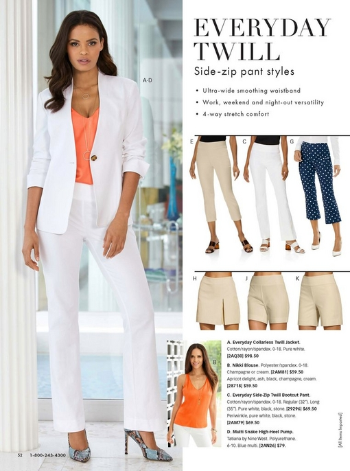 model wearing a white twill blazer, coral v-neck tank top, white twill bootcut pants, and blue animal print pumps. the right shows the different twill pants and shorts offered.