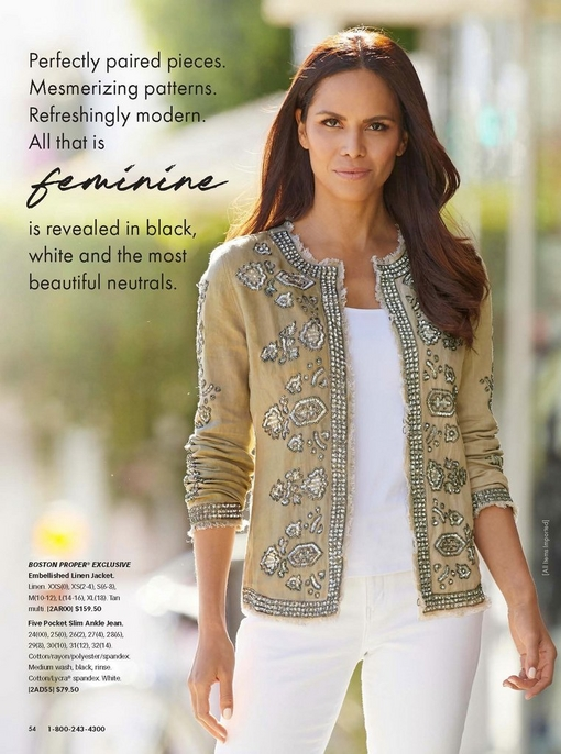 model wearing a tan embellished linen jacket, white tank top, and white jeans.