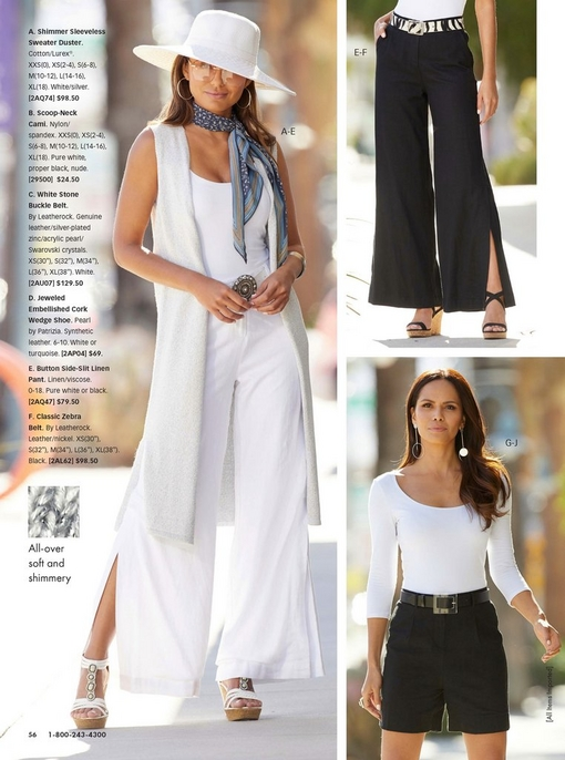 left model wearing a white shimmer sleeveless sweater duster, white camisole, white stone buckle belt, white side slit linen pants, and white jeweled embellished cork wedges with a white hat and blue scarf around her neck. top right model wearing black linen side slit pants, black strappy cork wedges, and a zebra belt. bottom right model wearing a white scoop neck top, black belt, and black linen shorts.