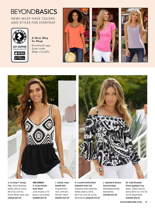 left model wearing a black and white crochet shell detail babydoll tank top, black and white tassel earrings, and white jeans. right model wearing a cold-shoulder floral applique top and white jeans.