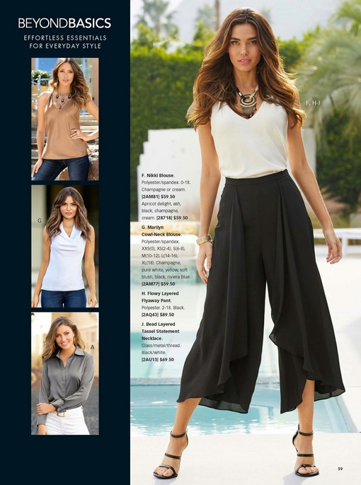 left panel shows three different basics tops: tan v-neck tank top, white cowl neck sleeveless top, and gray button up charm blouse. right model wearing a white v-neck tank top, black flowy layered flyaway pants, black and white tassel necklace, and black strappy heels