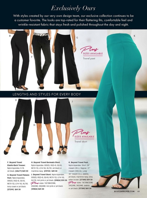 silos of the different pants from the beyond travel collection: the high rise pant, the trouser, the palazzo, the crop, the bermuda shorts, and th skort. to the right, the original travel pant is featured in jadeite.