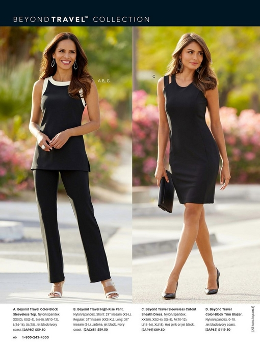 left model wearing a color-block black and white sleeveless top, black bants, and white wedges. right model wearing a black sleeveless cutout sheath dress, black pumps, and is holding a black clutch.