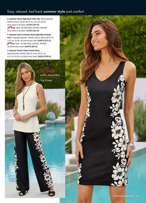 left model wearing a white high-neck tank top, floral palazzo pants, and black low heels. right model wearing a black and white floral v-neck dress.
