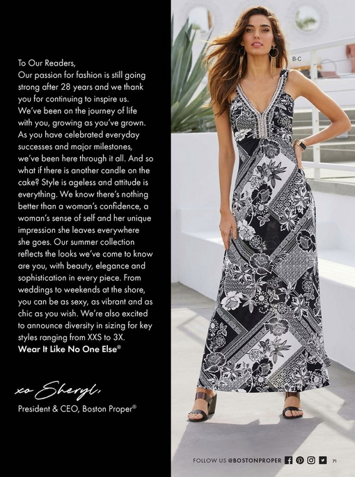 model wearing a black and white beaded neckline printed maxi dress with black wedges.