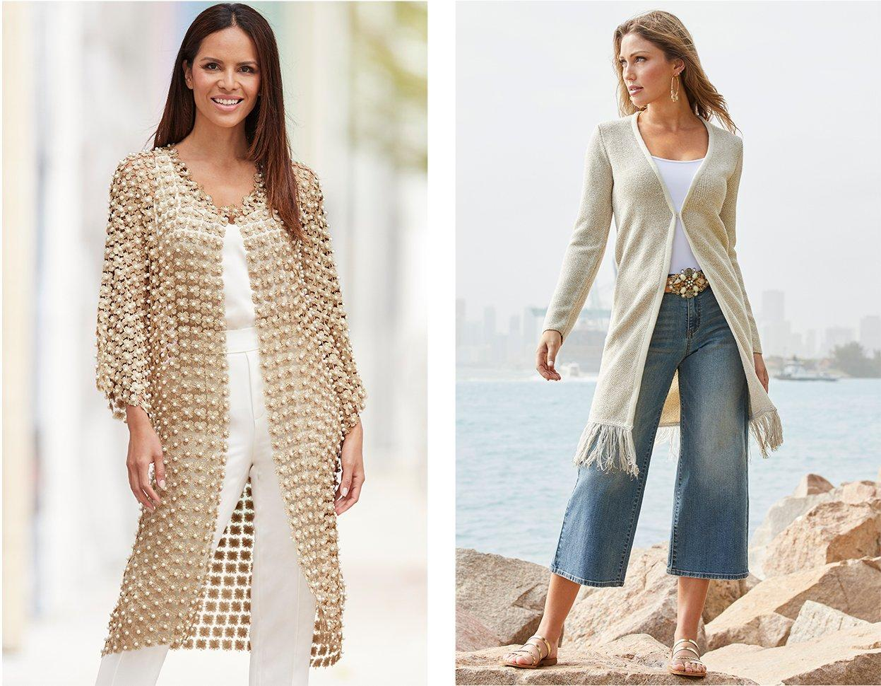 left model wearing a pearl embellished cardigan, high-waisted white pants, and a white tank top. right model wearing a tan duster with a fringe hem, white tank top, wide leg crop jean, gold hoop earrings, and stone studded belt.