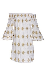 white off-the-shoulder dress with a gold pattern and flare-sleeves.