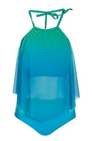 ombre blue and green tankini with a high neck.