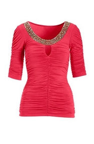 pink ruched three-quarter sleeve top with an embellished neckline.